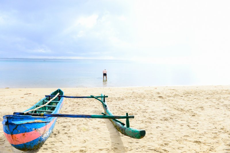 Einbaum Boot Piroge Auslegerkanu der Südseeinsulaner Madagaskar